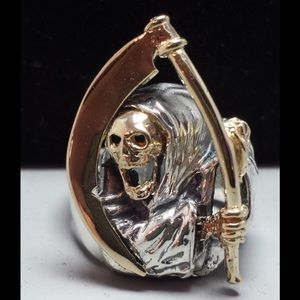 Other - 🖤 Unisex Sterling Silver 14k Grim Reaper Ring
